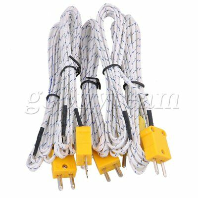 2 Meter Thermocouple Sensors K Type Cable Probe with Connector Pack of 5