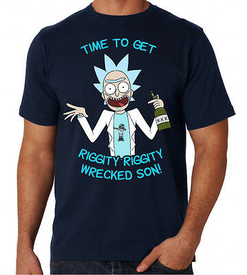 Rick And Morty Time To Get Riggity Wrecked Cartoon Mugshot New Mens Blue T Shirt