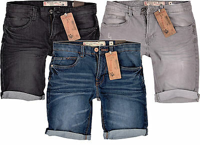 Herren Shorts Indicode Jeans kurze Hose Slim Fit Stretch Denim Short Kaden