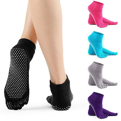 Yoga Socks Non Slip Pilates Massage 5 Toe Socks with Grip Exercise Gym 5 Colours