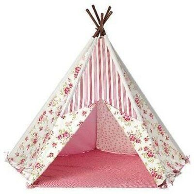 Tobs Pink Floral Wigwam,  Teepee Childrens Play Tent.  Indoor Or Outdoor Fun