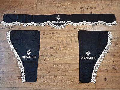 Set Of 3 Black Curtains With White Tassels  And Logo For RENAULT Trucks