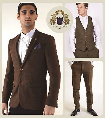 Mens Marc Darcy Designer Tan Brown Vintage Tweed Check Blazer Waistcoat Trouser