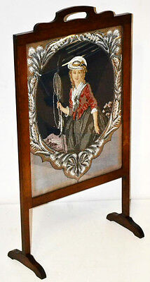 Antique Oak Embroidery Bead Worked Fire Screen - FREE Shipping [PL3290]