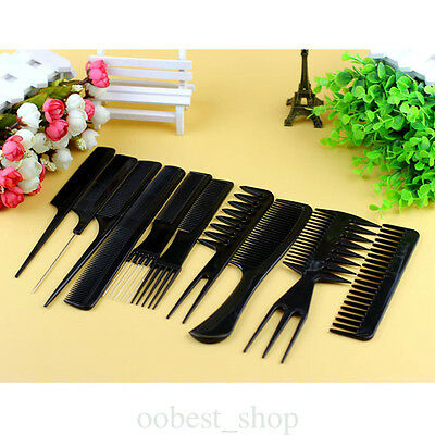 Hair Professional Kit Combs Salon Styling 10pcs Barbers Hairdressing Set Comb
