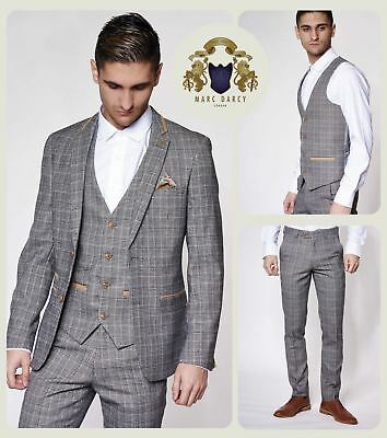 Mens Marc Darcy Designer Grey Vintage Tweed Check Blazer Waistcoat Trousers