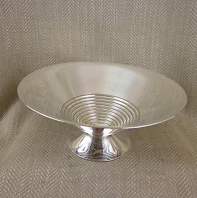 Vintage Art Deco Silver Plated Bowl Mid Century Retro Stylish Fruit Centerpiece