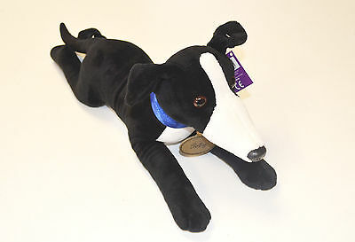 """Beautiful Black and White Greyhound Soft Toy """"Toby"""" With Detailed Collar - 40cm"""