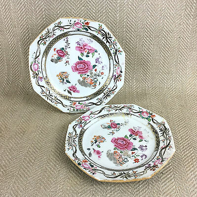 Antique Chinese Porcelain Plate Pair Hand Painted Qianlong  Famille Rose Peony