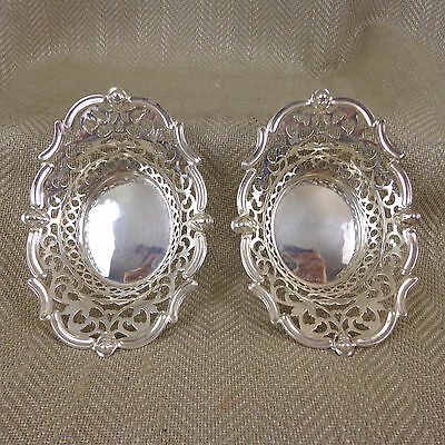 Pair Antique SILVER PLATED BOWLS Nut Candy Bonbon Pierced Ornate Fancy Vintage