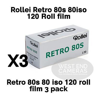 Rollei Retro 80s 120 Black and White FIlm 3 Pack Fresh UK Stock
