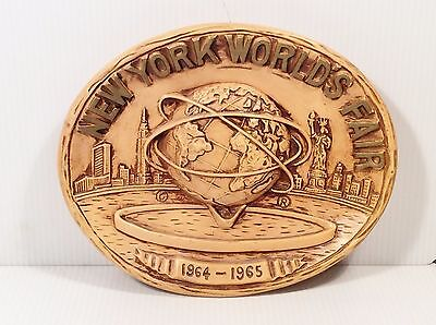 New York Worlds Fair 1964 1965 Souvenir Wall Hanging Plate 3D Brown