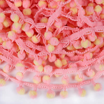 5Yds 10mm Ball Pom Pom Bobble Trim Braid Fringe Ribbon Edging Craft Hat Dec DIY