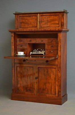 Antique Secretaire - William IV Figured Mahogany Secretaire