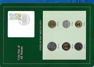 Coin Sets of All Nations Vatican City 500,200,100,50,20,10 Lire 1985 UNC