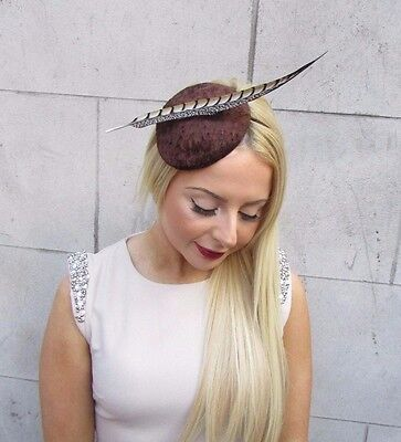 Brown Velvet Pheasant Statement Feather Hat Ascot Races Headpiece Hair Band 2466