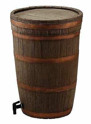 120L 120 Litre Oak Wood Effect Water Butt Barrel with Easy Twist Tap & Lid Set