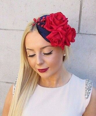 Navy Blue Red Velvet Rose Berry Flower Fascinator Hat Vtg Races Ascot 1950s 2467