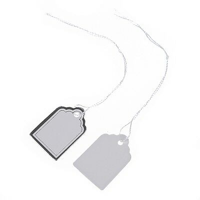 B9 500pcs Price tags with strings Hanging Rings Jewelry Sale Display - White and