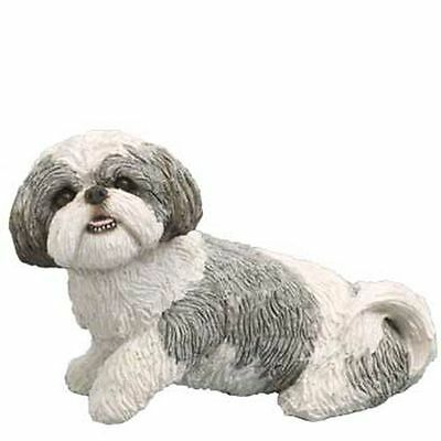New Sandicast Sandicast Mid Size Silver And White Shih Tzu Figurine