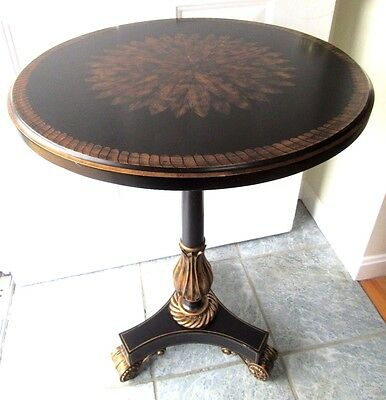 Maitland Smith Round Pedestal Table End Accent Lamp Side Black Gold Painted