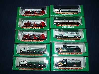 Hess Truck Minis,Lot of 10 MIB  1998 (2),1999 (3),2000 (2),2001,2002,and2004