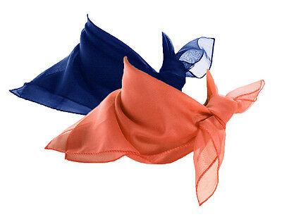 0547588afff15 Coral   Royal Blue Scarf Set - 2 Sheer Chiffon 50s Style Scarves - Hey Viv