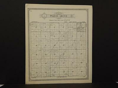 Illinois Iroquois County Map Pigeon Grove Township 1921 J6#56