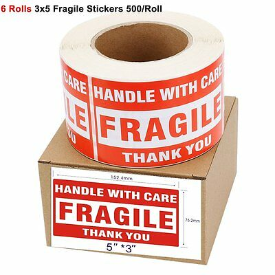 6 Roll 3000 Large 3x5 Fragile Handle with Care Thank You Stickers Shipping Label