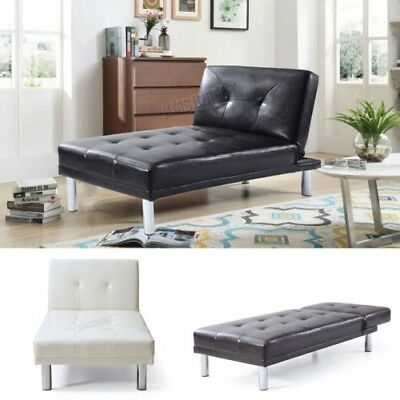 FoxHunter Chaise Longue Single Sofa Bed 1 Seater Couch Faux Leather Chair PSB03