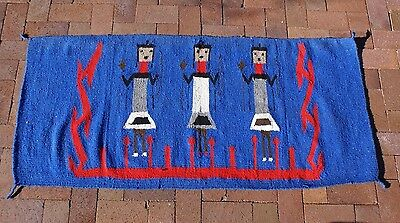 Colorful Vintage Warriors Bow Arrow Rug Blanket Wall Hanging  59.5 x 27