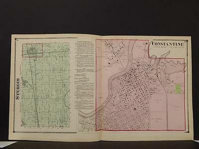 Michigan St Joseph County 1872 Sturgis Township, Constantine Double Page Y9#06
