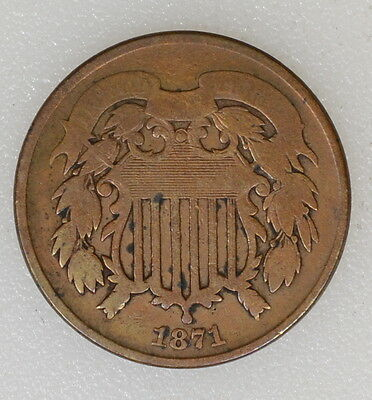 1871 Vg Condition Two 2 Cent Piece. Nice Strike, Old Cleaning - I-6308 F