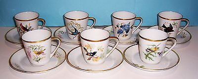 7 Vintage Hutschenreuther Germany Pasco Audubon Birds Cups and Saucers
