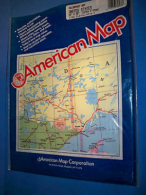"Vtg 38"" x 50"" Large Wall Map Of United States USA Colorprint American Map Co NIP"