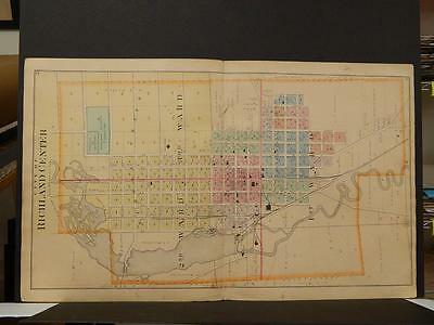 Wisconsin Richland County Map Richland Center Dbl Sided Dbl Pg 1895 J6#37