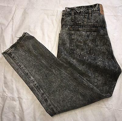 Vtg Levi's Acid Wash 38x32 High Waist 1980's USA Made Center Patch Double Button