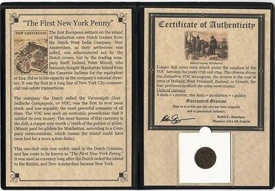 1 - Dutch Duit 1st New York Penny with Story of the coin & COA All Dates Visable