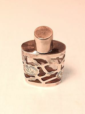 Vintage Hecho Mexico Perfume Sterling Silver Overlay Glass Bottle
