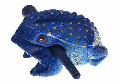 Frog Toad Croaking Rasp Instrument Wooden Figurine Stocking Stuffers Blue 3""