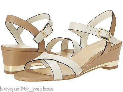 aa1a30b59c4b Cole Haan Melrose Low Wedge Ivory Leather Slingback Sandals Shoe Womens  10.5 New