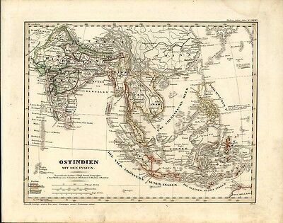 East Indies Indonesia India Tibet Siam Burma China 1846 scarce antique Dane map