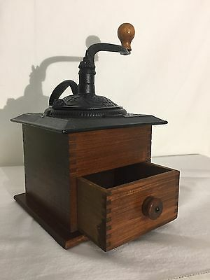 Vintage Coffee Grinder -  Dovetailed Wood & Ornate Cast Iron Top w/handle