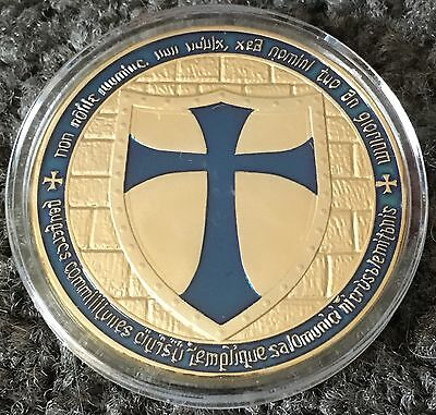 Blue Knight Templar Challenge Coin Collectables Finished In Gold .999 1oz ✔️