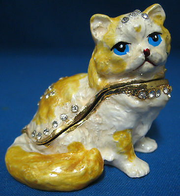 Persian Kitten Cat Jeweled Trinket Box Hinged Enamel Rhinestone Gems New