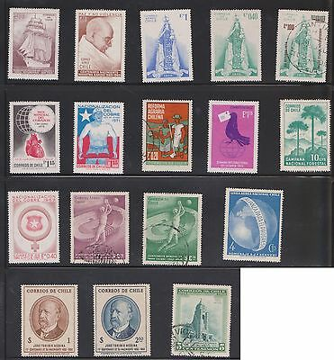 (U21-22) 1950-70 Chile mix of 17stamps value to $2.50 (E)