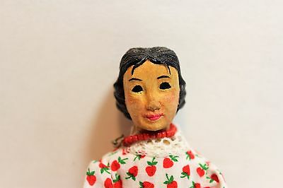 Beautiful handcarved wood Hitty doll 6.5-inches with outfit!