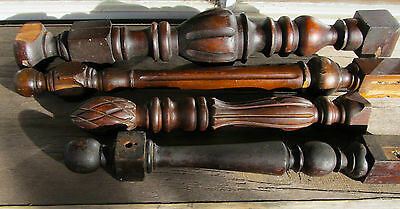 Lot 4 Antique Wooden Salvaged Furniture Parts - Legs & Post