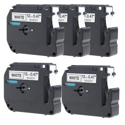 5PCS  M-K231 MK231 Black/White Compatible Brother P-touch PT65 PT85 Label Tape
