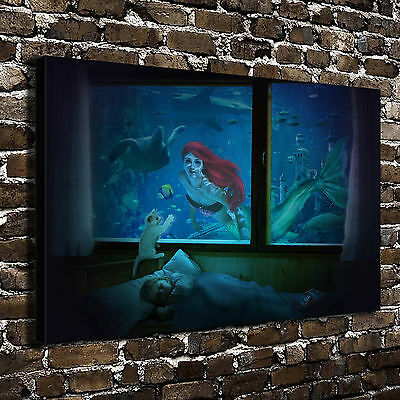 "12""x18""The little mermaid Painting HD Print on Canva Home Decor Wall Art Picture"